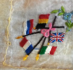 Detail embroidered flag handkerchief