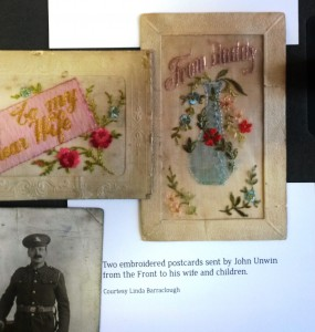 Embroidered postcards with John Unwin photo