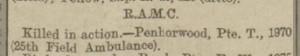Penhorwood killed in action