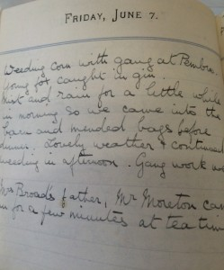 Page from Miss Bennett diary