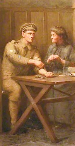 The soldier with his mother