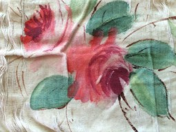 Rose from silk banner