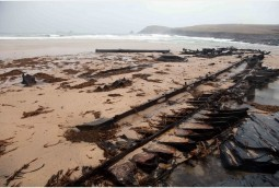 World War One wreck revealed by storms