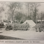 Field ambulance church parade in bivouac