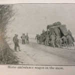 Horse ambulance wagon in the snow
