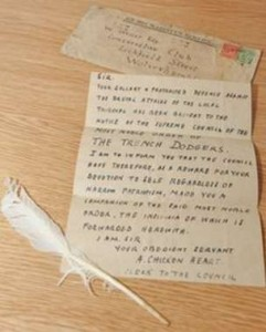 white feather with letter