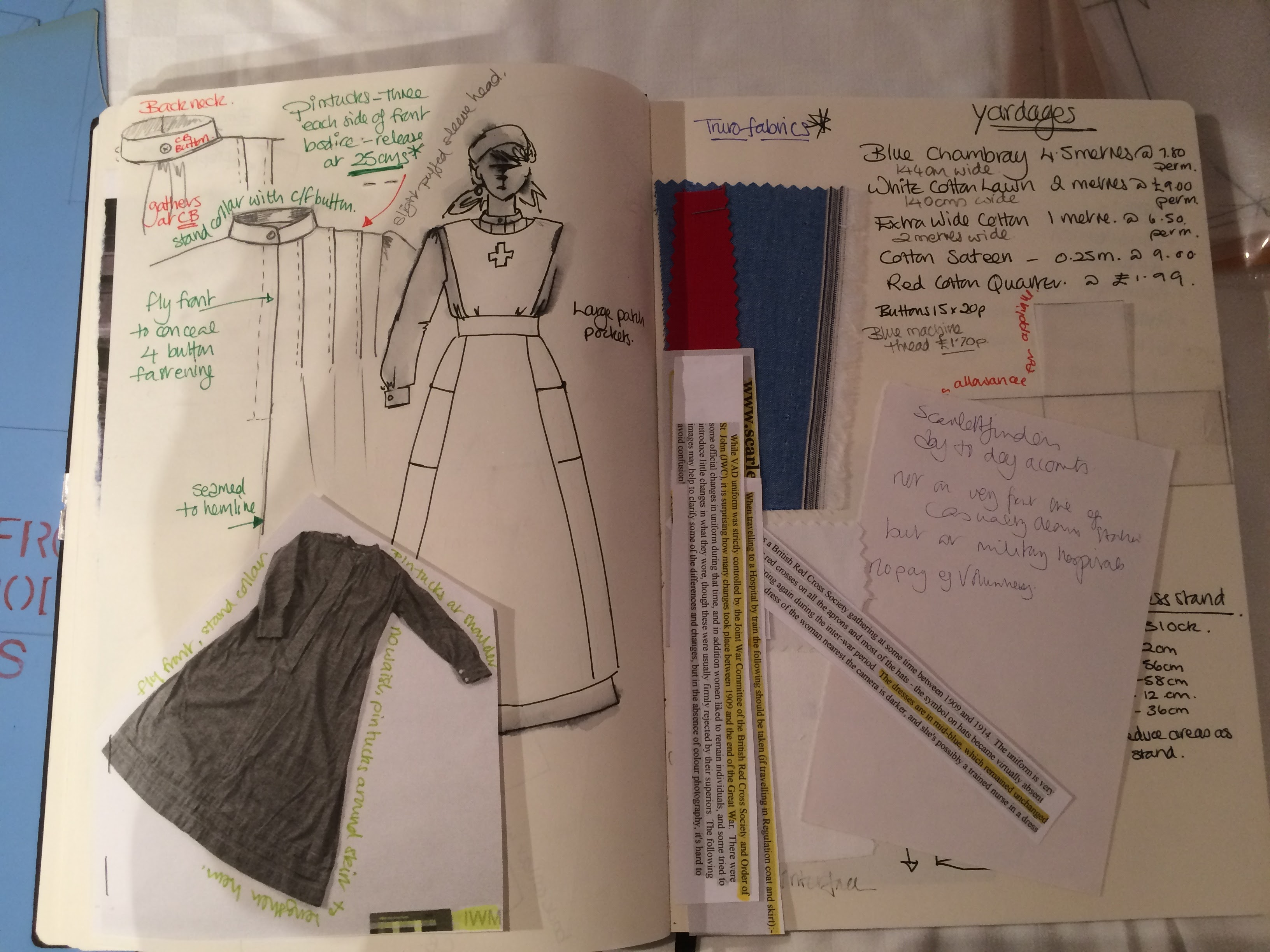 Nurse uniform sketchbook
